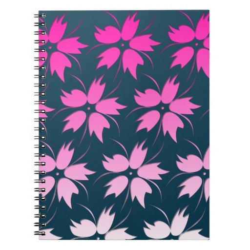 Pink Flower Pattern Spiral Notebooks