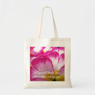 Pink Flower Personalized Wedding Tote Bags