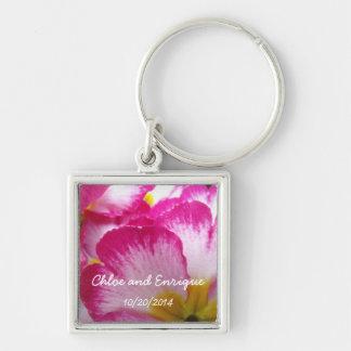 Pink Flower Personalized Wedding Keychains