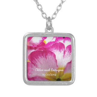 Pink Flower Personalized Wedding Personalized Necklace