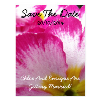 Pink Flower Personalized Wedding Postcards