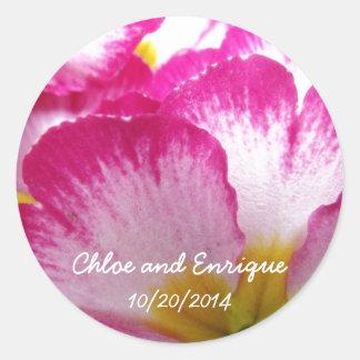 Pink Flower Personalized Wedding Sticker