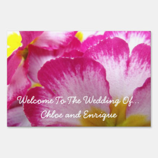 Pink Flower Personalized Wedding Yard Signs