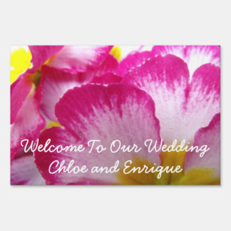 Pink Flower Personalized Wedding Lawn Signs