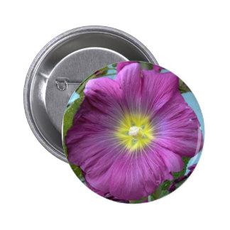 Pink Flower Photo Round Badge Pinback Button