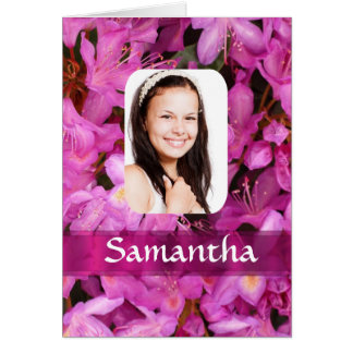 Pink flower photo template card