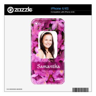 Pink flower photo template iPhone 4 decal