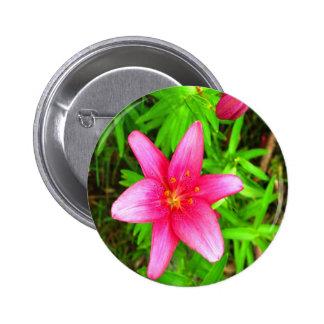 Pink Flower Pinback Buttons