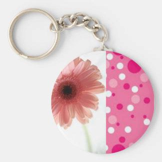 Pink Flower Polka Dots Basic Round Button Keychain