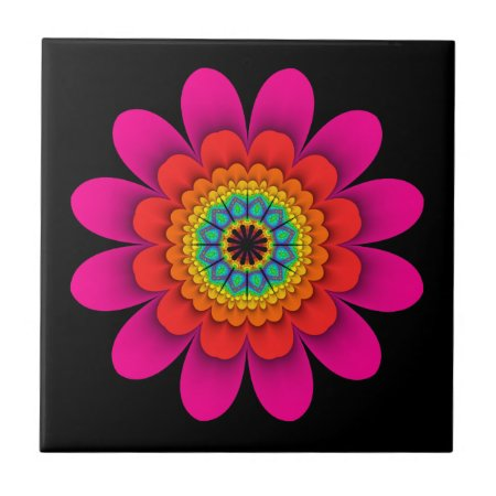 Pink Flower Power Ceramic Tile