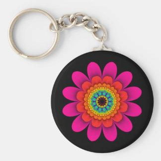 Pink Flower Power Keychain on Black
