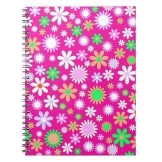 Pink Flower Power Spiral Notebook
