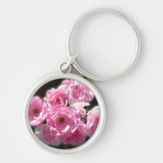 Pink Flower Premium Round Keychain