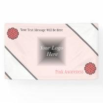 Pink Flower Ribbon Banner