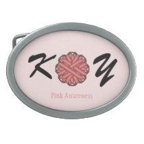Pink Flower Ribbon Belt Buckle