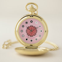 Pink Flower Ribbon (Bf) by K Yoncich Pocket Watch