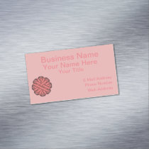 Pink Flower Ribbon Business Card Magnet