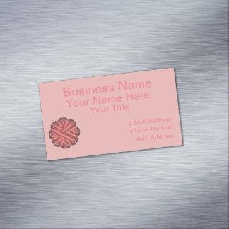 Pink Flower Ribbon Business Card Magnet