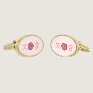 Pink Flower Ribbon by Kenneth Yoncich Cufflinks