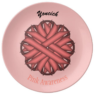 Pink Flower Ribbon by Kenneth Yoncich Dinner Plate