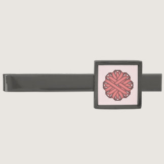 Pink Flower Ribbon by Kenneth Yoncich Gunmetal Finish Tie Clip