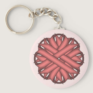 Pink Flower Ribbon by Kenneth Yoncich Keychain