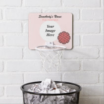 Pink Flower Ribbon by Kenneth Yoncich Mini Basketball Hoop
