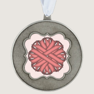 Pink Flower Ribbon by Kenneth Yoncich Pewter Ornament