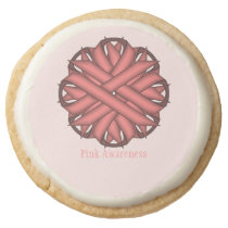 Pink Flower Ribbon by Kenneth Yoncich Round Shortbread Cookie