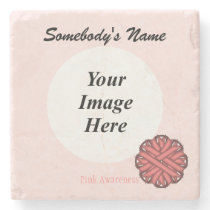 Pink Flower Ribbon by Kenneth Yoncich Stone Coaster