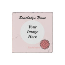 Pink Flower Ribbon by Kenneth Yoncich Stone Magnet