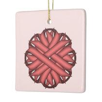 Pink Flower Ribbon Ceramic Ornament
