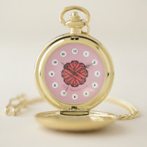 Pink Flower Ribbon (Cf) by K Yoncich Pocket Watch
