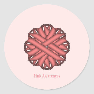 Pink Flower Ribbon Classic Round Sticker