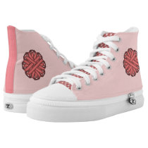 Pink Flower Ribbon High-Top Sneakers