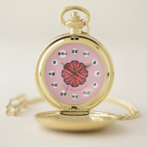 Pink Flower Ribbon (Kf) by K Yoncich Pocket Watch