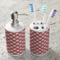 Pink Flower Ribbon Soap Dispenser And Toothbrush Holder