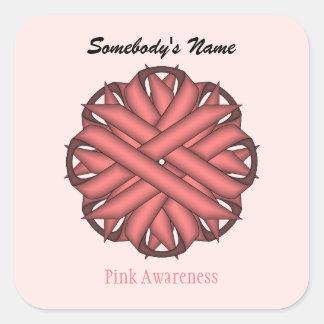 Pink Flower Ribbon Square Sticker