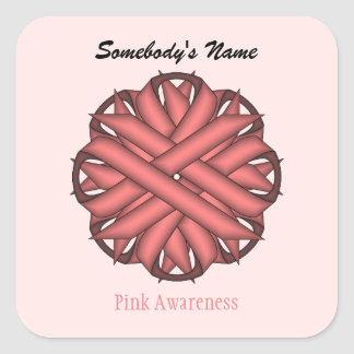 Pink Flower Ribbon Square Sticker