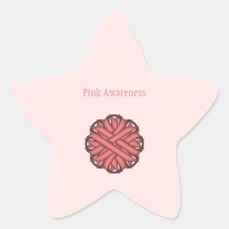 Pink Flower Ribbon Star Sticker