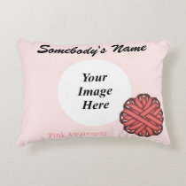 Pink Flower Ribbon Template Accent Pillow