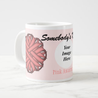 Pink Flower Ribbon Template by Kenneth Yoncich Large Coffee Mug