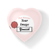 Pink Flower Ribbon Template by Kenneth Yoncich Paperweight