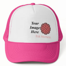 Pink Flower Ribbon Template by Kenneth Yoncich Trucker Hat