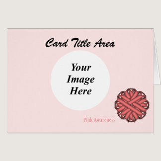 Pink Flower Ribbon Template Card