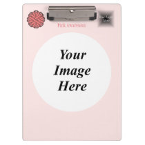 Pink Flower Ribbon Template Clipboard