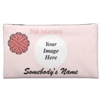 Pink Flower Ribbon Template Cosmetic Bag