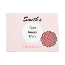 Pink Flower Ribbon Template Doormat