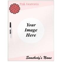 Pink Flower Ribbon Template Dry-Erase Board