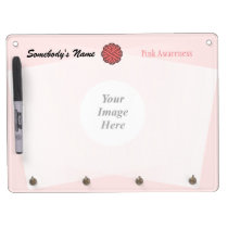 Pink Flower Ribbon Template Dry Erase Board With Keychain Holder